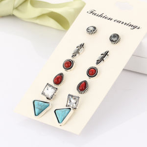 Costume Jewelry- Vintage Turquoise Crystal Stud Earrings Set Jewelry Gift