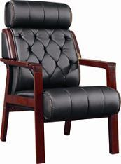 Wooden PU Leather Office Meeting Chair with Armrest (BS-262) pictures & photos