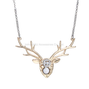 Fashion Image Deer Jewelry Necklace Copper Animal Choker Necklaces Mechanical Design Deer Head Accessories Women Spring Gifts pictures & photos