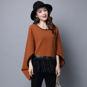 Lady Fashion Viscose Nylon Knitted Leather Fringe Poncho (YKY2066) pictures & photos