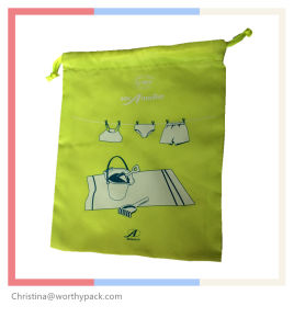Custom Printed Green Satin Jewelry/ Gift Bag with Rope Closure pictures & photos