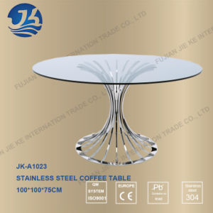Tempered Glass Desktop Round Coffee Table with 304 Stainless Steel Foot pictures & photos