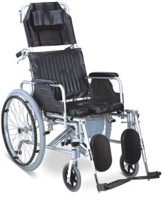 Aluminum Manual Folding Reclining High Back Commode Wheelchair pictures & photos
