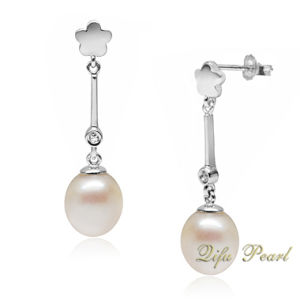 925 Silver Bar Earring With Freshwater Pearl and CZ (EA0616)