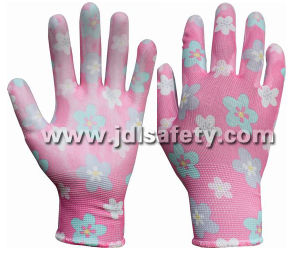 Printed Polyester Work Glove with PU Palm Coated (PN8014-8) pictures & photos