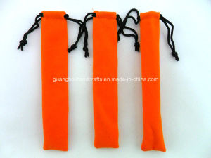 Custom Orange Velvet Drawstring Pen Pouches pictures & photos