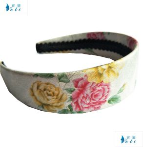 Chinoiserie Flower White Wide Headband PU pictures & photos