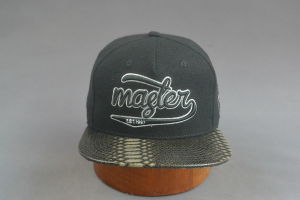 Flanel Cap Leather Brim Snapback Hat with 3D Logo pictures & photos