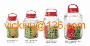 8L Big Fruit Wine Glass Jars with Red Plastic Lid pictures & photos
