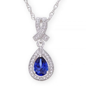 Sterling Silver Necklace with Sapphire Drop Stone with Rhodium Plated pictures & photos