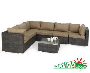 Outdoor Rattan Furniture Mixed Brown 7 PCS Corner Unit - 1306