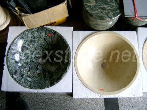 Stone Sink / Wash Basin (Dragon Jade & Crema Marfil)