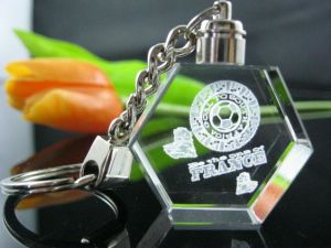 Promotional Gift 3D Laser Engraving Crystal Keychain pictures & photos