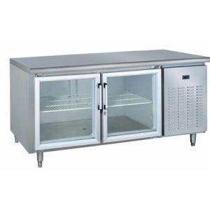 Glass Door Stainless Steel Commercial Kitchen Worktable Freezer pictures & photos