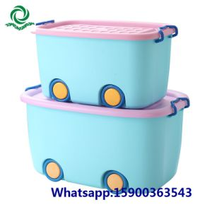 Children Toys Plastic Storage Box with Lid and Wheel pictures & photos