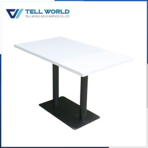 Modern Design White Gloss Corian Square Restaurant Coffee Hotel Dining Table pictures & photos