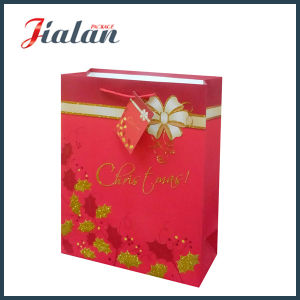 Customize with Glitter Merry Christmas Ivory Paper Gift Paper Bag pictures & photos