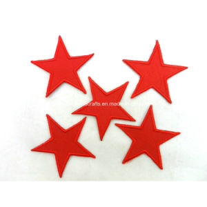 Custom Polyester Embroidery Red Iron on Star Patches pictures & photos