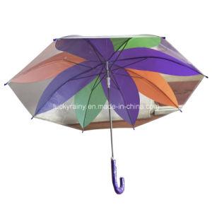 Plastic Transparent Poe Umbrella with Fashion Maple Leaf Design