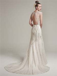 2016 Mermaid Sexy Heavy Beading Wedding Dress with Hollow Back pictures & photos