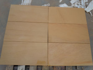 Popular Yellow Wooden Grain Sandstone Tile pictures & photos