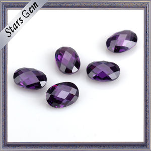 Good Quality Amethyst Color Double Checker Cut Oval CZ Stone pictures & photos