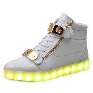 High Top Light up Shoes with USB Charging Metal Magic Tape pictures & photos
