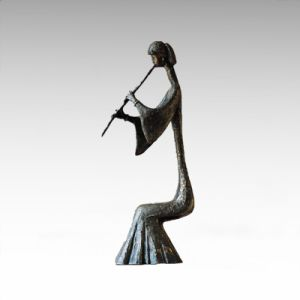 Eastern Statue Traditional Flute Musician Bronze Sculpture Tple-009