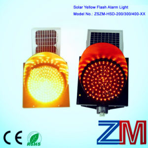 EU Standard 12 Inch Solar Traffic Flash Lamp / LED Yellow Flashing Warning Light pictures & photos