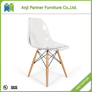Crystal Transparent Design PC Seat Dining Chair with Wood Base (Arabela) pictures & photos