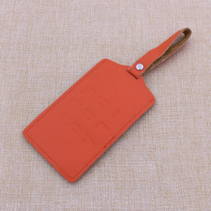 Supply Real Leather Orange Luggage Tag with Custom Color pictures & photos