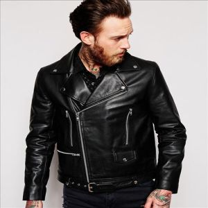 2016 Men′s Cool Leather Biker Jacket with Belt in Black pictures & photos