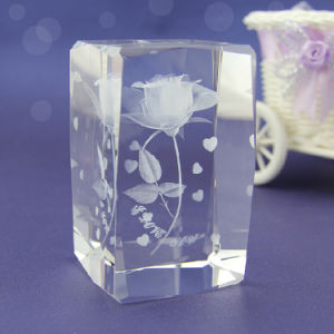 Fashion Carved Crystal Cube for Home Decoration pictures & photos