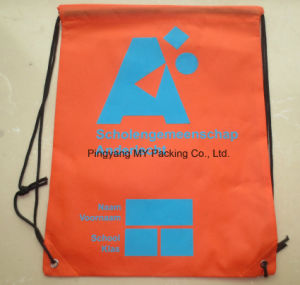 Reusable Non Woven or Polyester Eyelet Drawstring Bag for Promotion pictures & photos