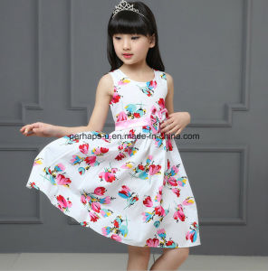 High Quality Flower Girls Dress with Bowknot Children Wear pictures & photos