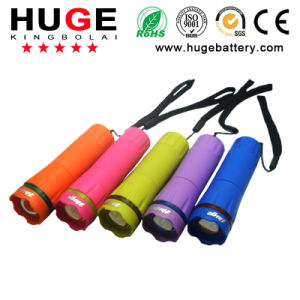 4.5V1w Portable Colorful LED Flashlight ---Plastic Torch (4.5V 1W) pictures & photos