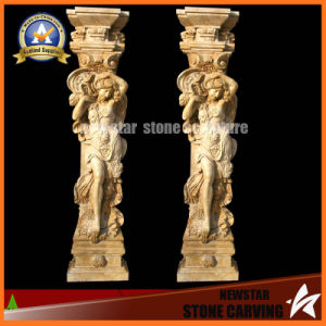 Beige Marble Figure Column Granite Roman Column for Decoration (NS-11C09) pictures & photos