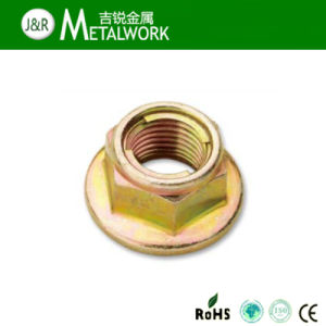 Yellow Zinc Plated Steel Metal Insert Hex Flange Lock Nut pictures & photos