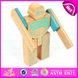 Hot Sale Non Toxic Wooden Robot Toy for Kids, DIY Children Wooden Robot Toy with Very Cheap Price W03b043 pictures & photos