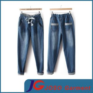 Women Clothing Elasticated Jeans Cotton Trousers (JC1386) pictures & photos