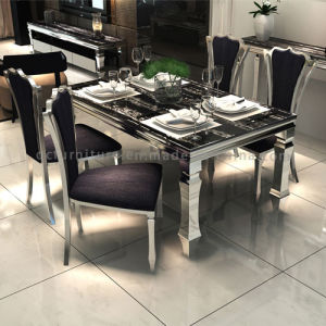 Modern Rectangle Large Dining Table with Silver Base pictures & photos