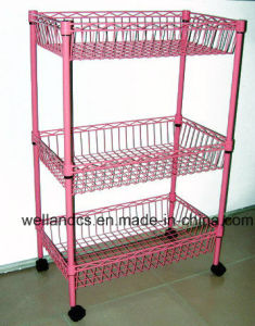 Adjustable 3 Tiers Colorful Metal Wire Kitchen Basket Rack with Wheels pictures & photos