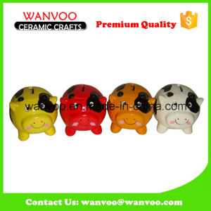 Lovely Colorful Ceramic Cow Coin Counter Bank Without Lock pictures & photos