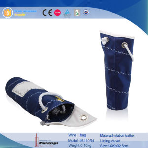 Fabric Single Bottle Wine Pouch (6410R4) pictures & photos