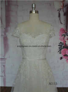 Wedding Dress Gown Flattering Burgundy French Lace OEM Service Factory pictures & photos