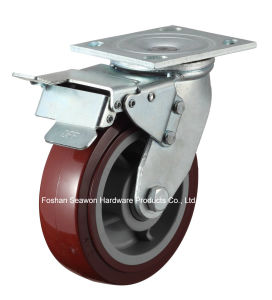 Caster Heavy Duty Swivel W/Dual Brake Polyurethane Caster pictures & photos