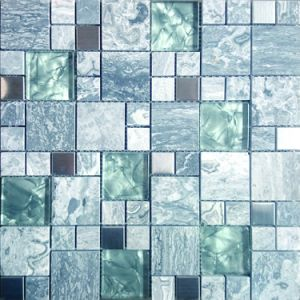 Foshan Mosaic Mirror Bathroom Crystal Glass Mix Stone mosaic (MZ3010) pictures & photos