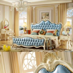 Classic Bedroom Furniture with Wood Bed and Dresser Cabinet