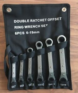 6PCS Offset Ring Ratchet Wrench Set in Canvas Bag