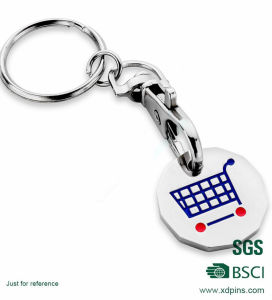 European Standard Metal Shopping Trolley Token with Keychain pictures & photos